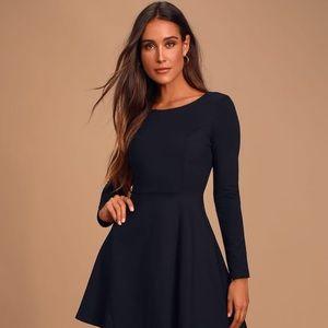 Lulus Black Forever Chic Black Long Sleeve Dress